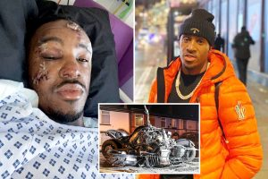 Rapper Bugzy Malone shares horror hospital pictures after being thrown 13ft through air in motorbike crash