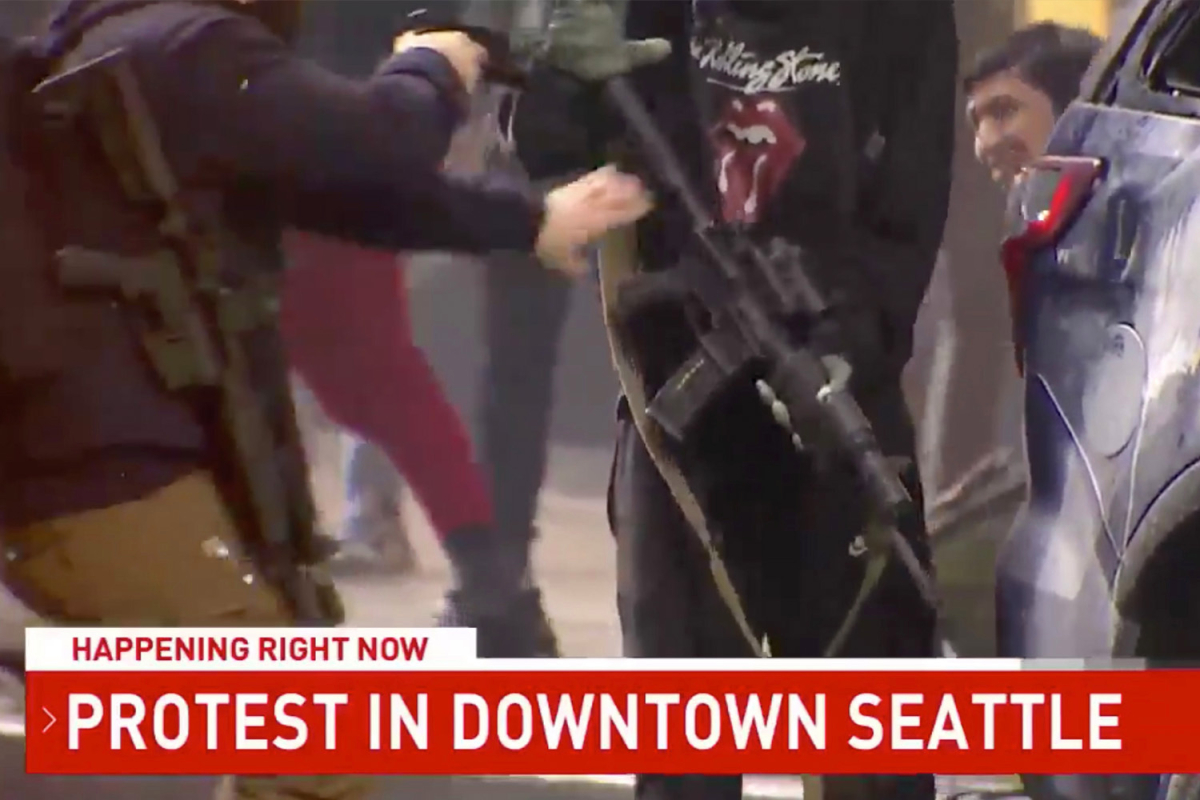 Security guard bursts into action after protester 'grabs rifle from police car'
