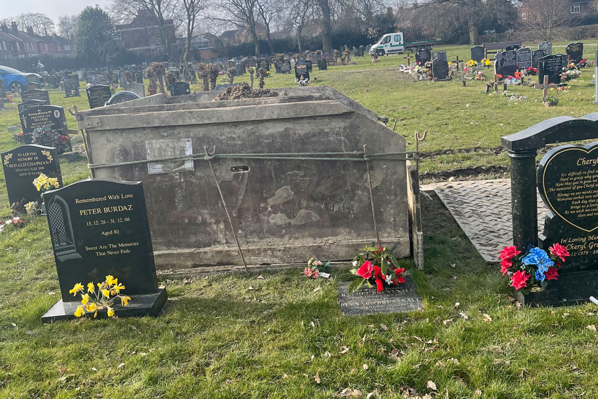 Daughter, 20, 'absolutely outraged' as large skip is dumped on top of mum's grave